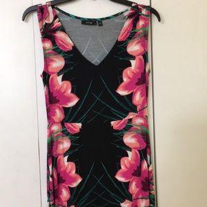Apt. 9 Dresses - Maxi women black dress hibiscus print sz XS